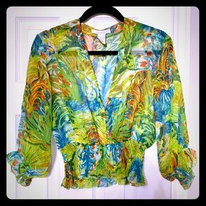 Charlotte Russe sheer watercolor floral crop top